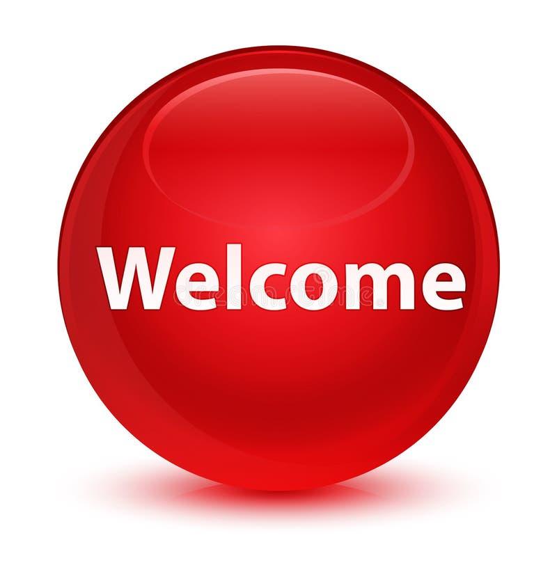Bottone rotondo rosso vetroso benvenuto illustrazione di stock