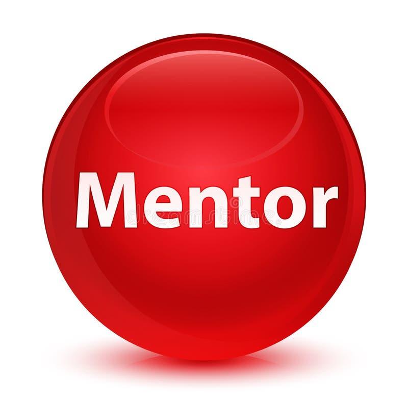 Bottone rotondo rosso vetroso del mentore royalty illustrazione gratis