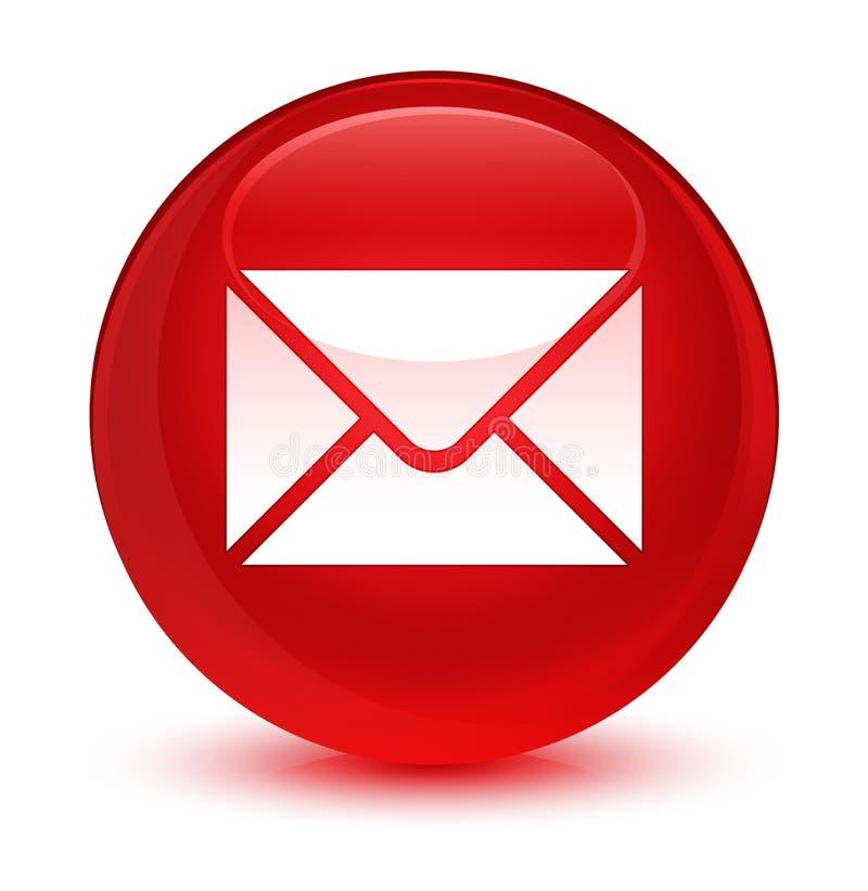 Bottone rotondo rosso vetroso dell'icona del email illustrazione vettoriale