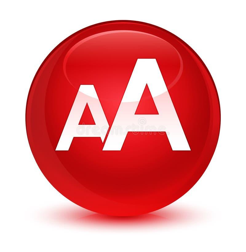 Bottone rotondo rosso vetroso dell'icona di dimensione royalty illustrazione gratis