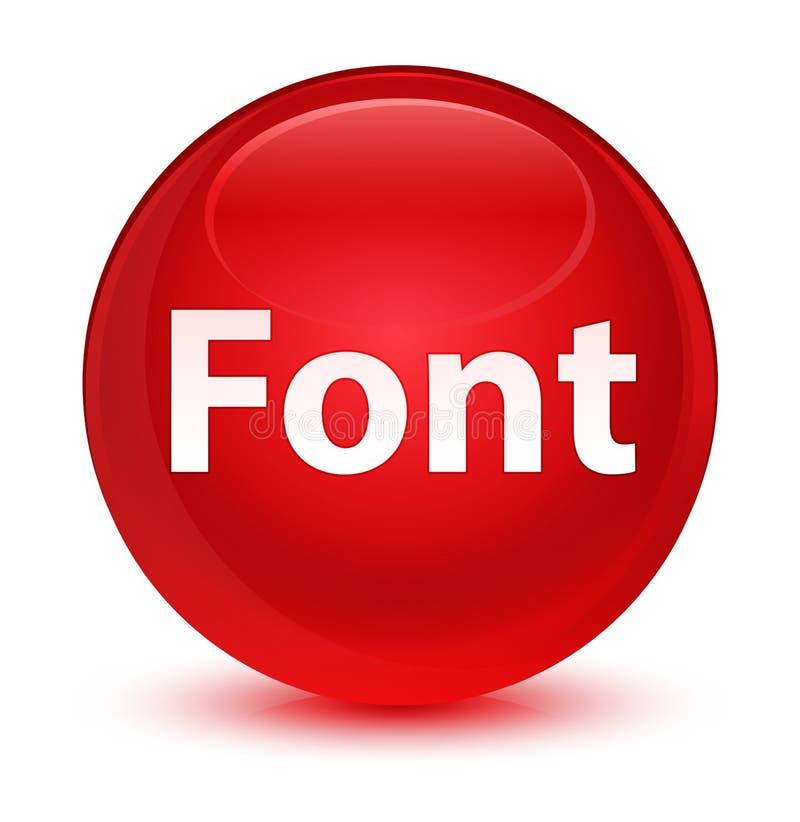 Bottone rotondo rosso vetroso della fonte illustrazione di stock