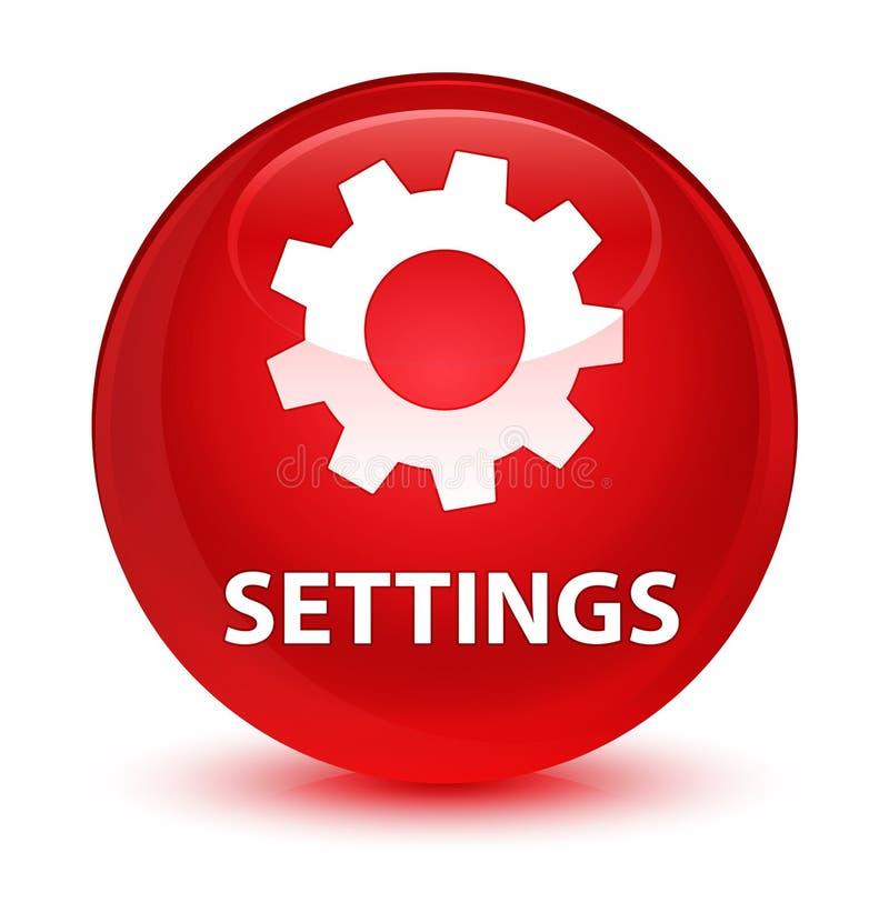 Bottone rotondo rosso vetroso delle regolazioni illustrazione vettoriale