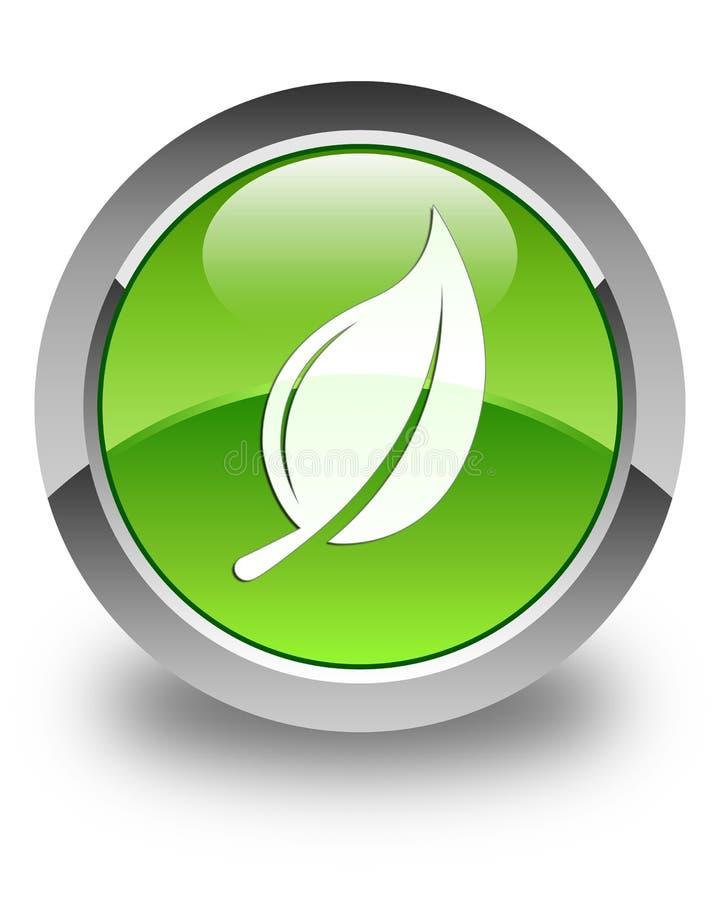 Bottone rotondo verde lucido dell'icona della foglia illustrazione vettoriale