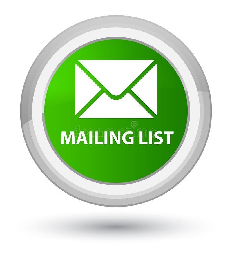 Bottone rotondo verde principale dell'elenco di indirizzi illustrazione di stock