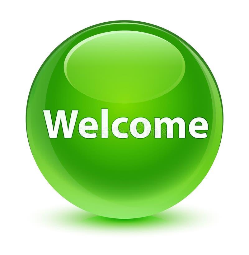 Bottone rotondo verde vetroso benvenuto illustrazione vettoriale