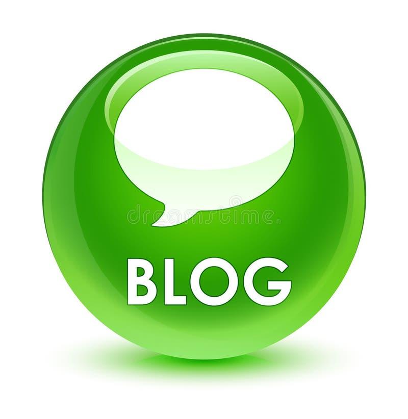 Bottone rotondo verde vetroso del blog (icona di conversazione) royalty illustrazione gratis