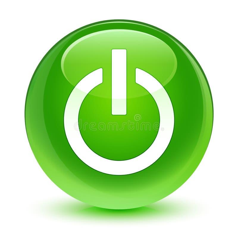 Bottone rotondo verde vetroso dell'icona di potere royalty illustrazione gratis