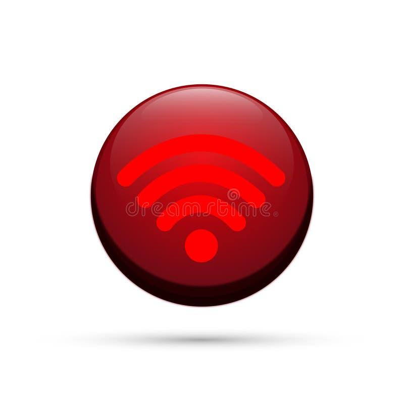 Bottone senza fili dell'icona del collegamento 3d di simbolo dell'icona di Wifi nell'elemento rosso su fondo bianco royalty illustrazione gratis