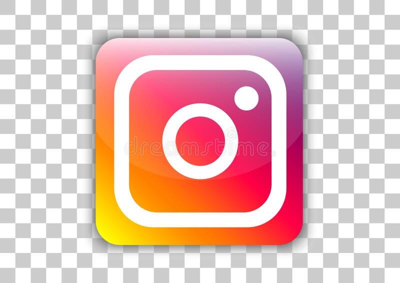 Bottone sociale dell'icona di media di Instagram con il simbolo dentro illustrazione di stock