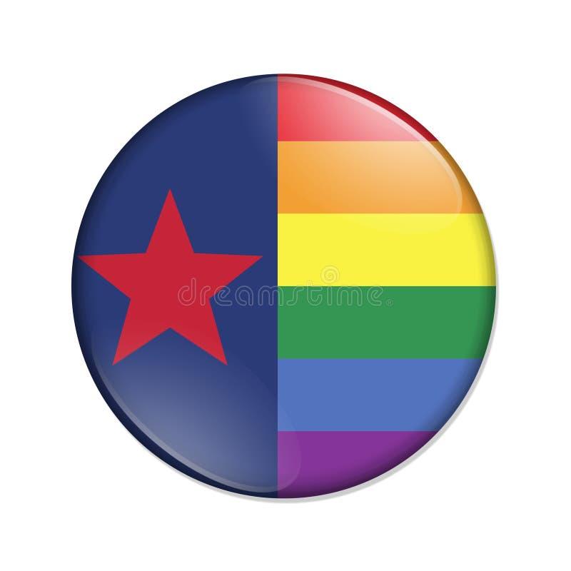 Bottone a strisce del distintivo della bandiera di orgoglio del Texas illustrazione vettoriale