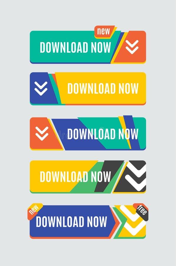 Bottone variopinto di web di download Progettazione piana moderna royalty illustrazione gratis