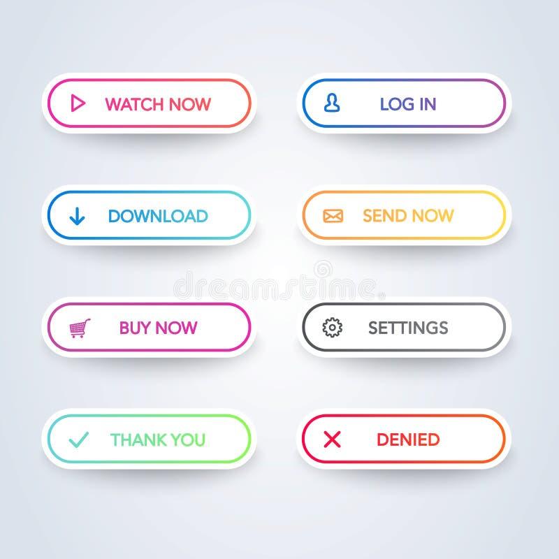 Bottone variopinto differente messo su fondo bianco Linea piana raccolta del bottone di pendenza Elemento di Web di vettore illustrazione vettoriale