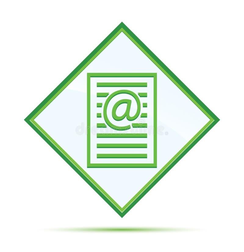 Bottone verde astratto moderno del diamante dell'icona della pagina di indirizzo email royalty illustrazione gratis