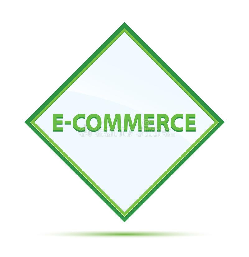 Bottone verde astratto moderno del diamante di commercio elettronico royalty illustrazione gratis