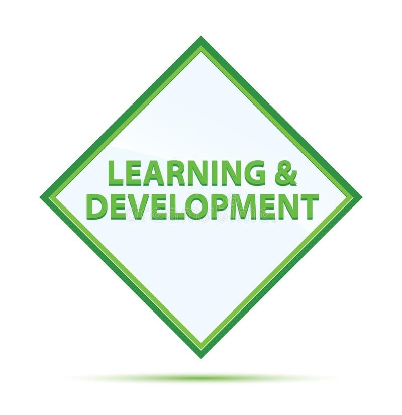 Bottone verde astratto moderno del diamante di sviluppo & di apprendimento illustrazione di stock