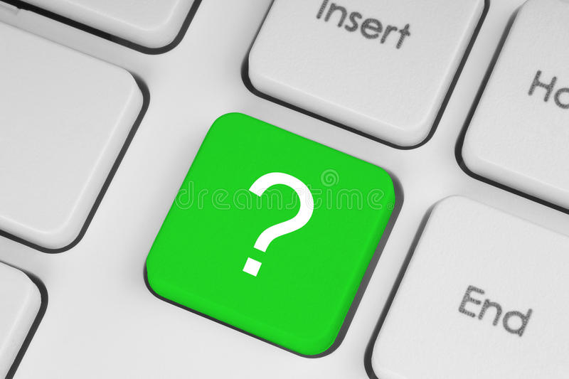 Bottone verde di domanda fotografie stock