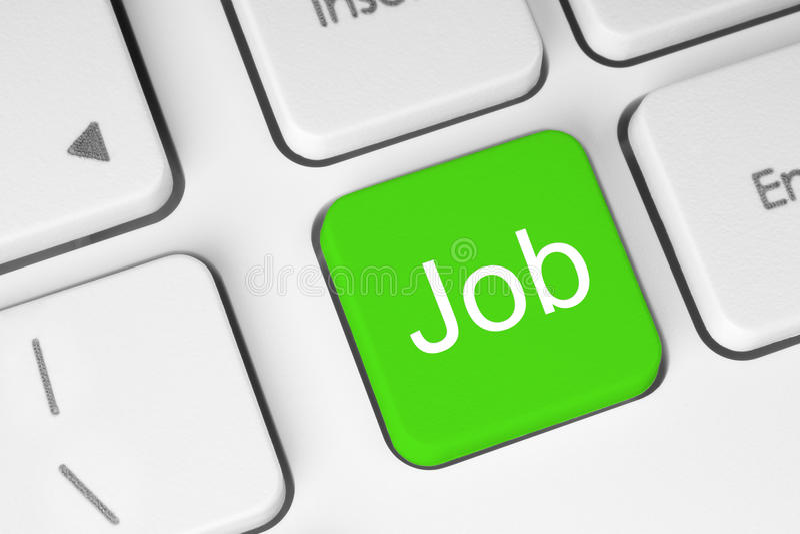 Bottone verde di lavoro immagine stock