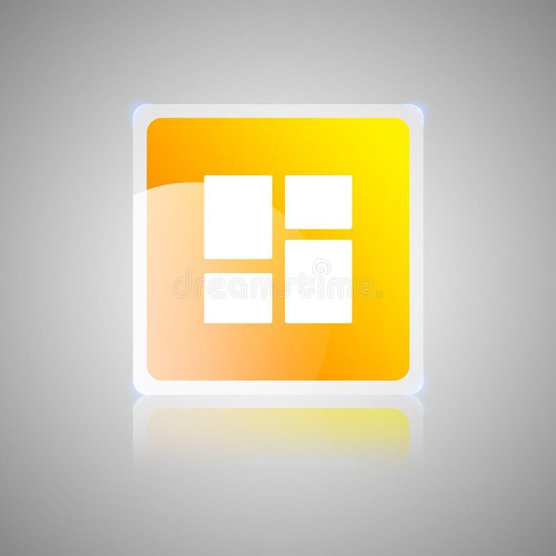 Bottone vetroso quadrato arancio del cruscotto illustrazione di stock