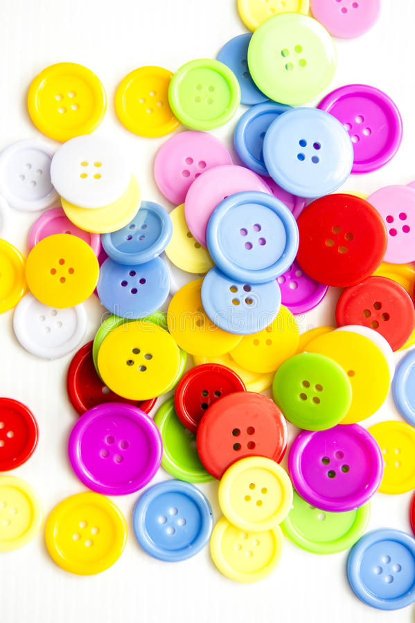 Bottoni assortiti luminosi, fotografia stock