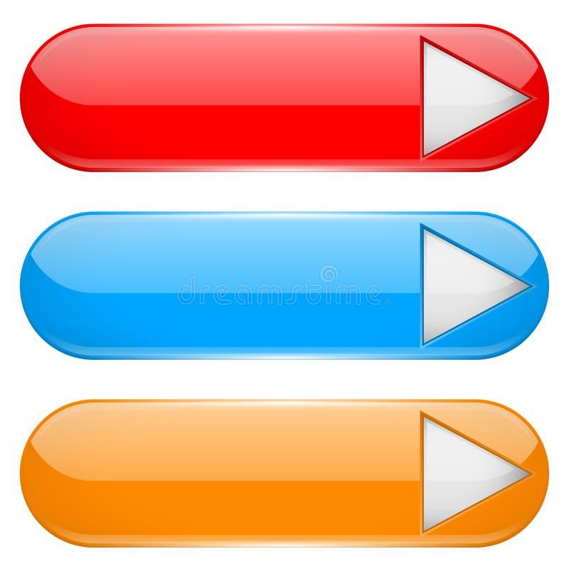 Bottoni colorati del menu con la freccia bianca Icone ovali di vetro 3d illustrazione di stock