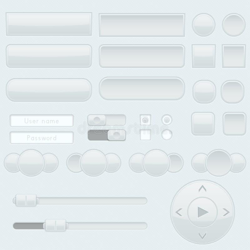 Bottoni, cursori ed interruttori basculanti grigio chiaro dell'interfaccia royalty illustrazione gratis