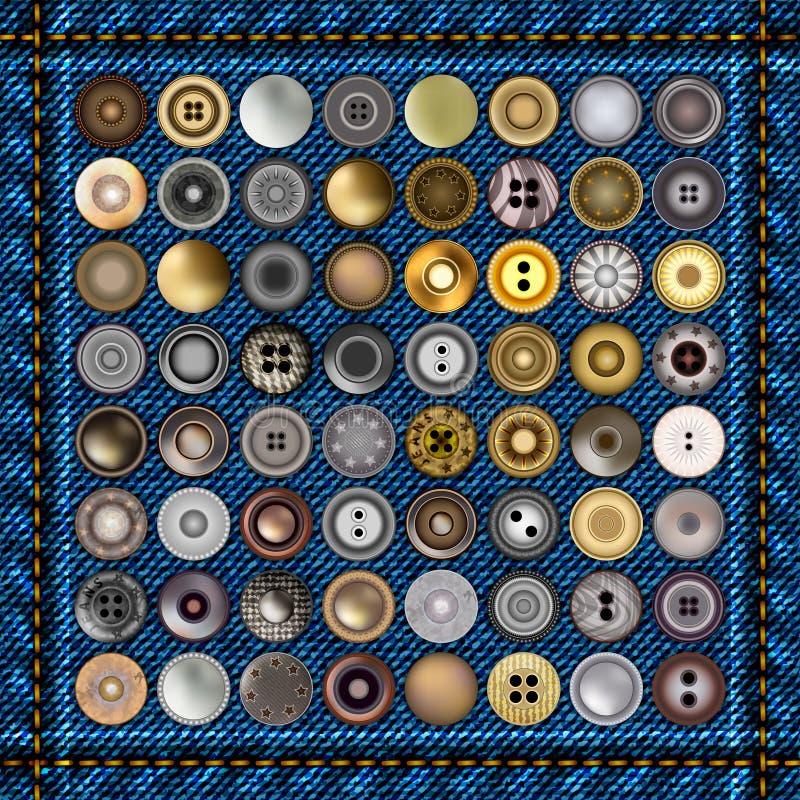 Bottoni dei jeans del metallo Gli accessori realistici Metal i ribattini rotondi dei jeans sopra il fondo del denim Illustrazione royalty illustrazione gratis