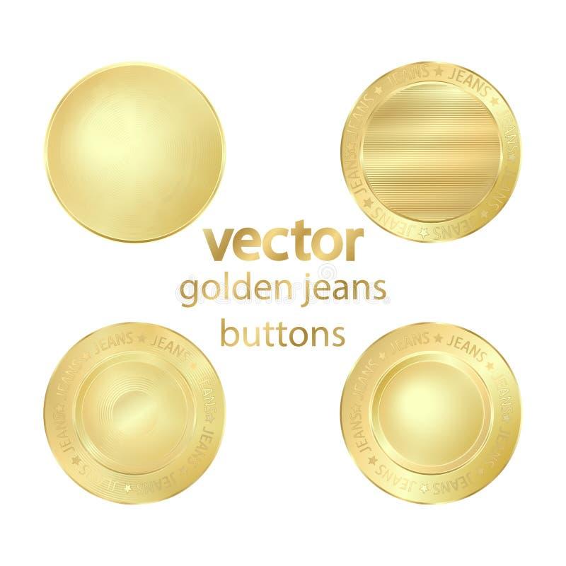 bottoni dei jeans di vettore dell'oro illustrazione di stock