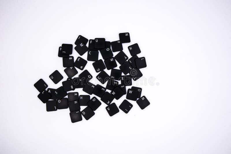 Bottoni del computer mescolati nel fondo bianco fotografia stock libera da diritti