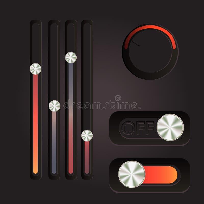 Bottoni del cursore di potere dell'interfaccia utente illustrazione di stock