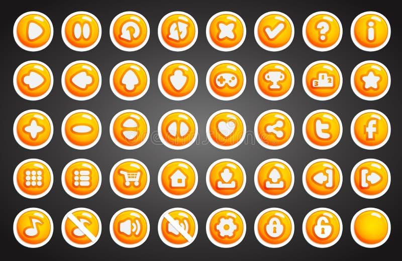 Bottoni del gioco nello stile del fumetto illustrazione vettoriale