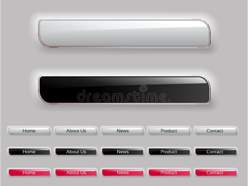 Bottoni del menu di web design di vettore Barra di navigazione del sito Web Intestazione del sito Web Contrassegni lucidi illustrazione di stock