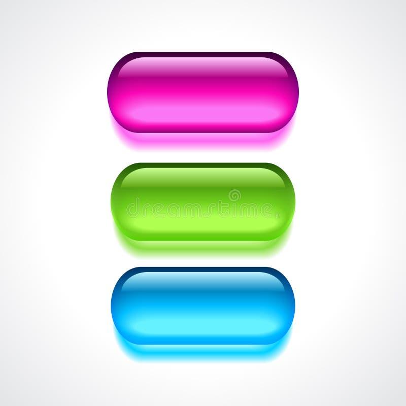 Bottoni del neon del gel illustrazione di stock
