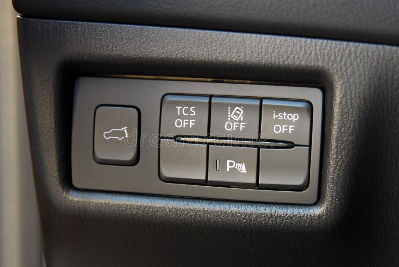 Bottoni del pannello dell'automobile fotografie stock libere da diritti