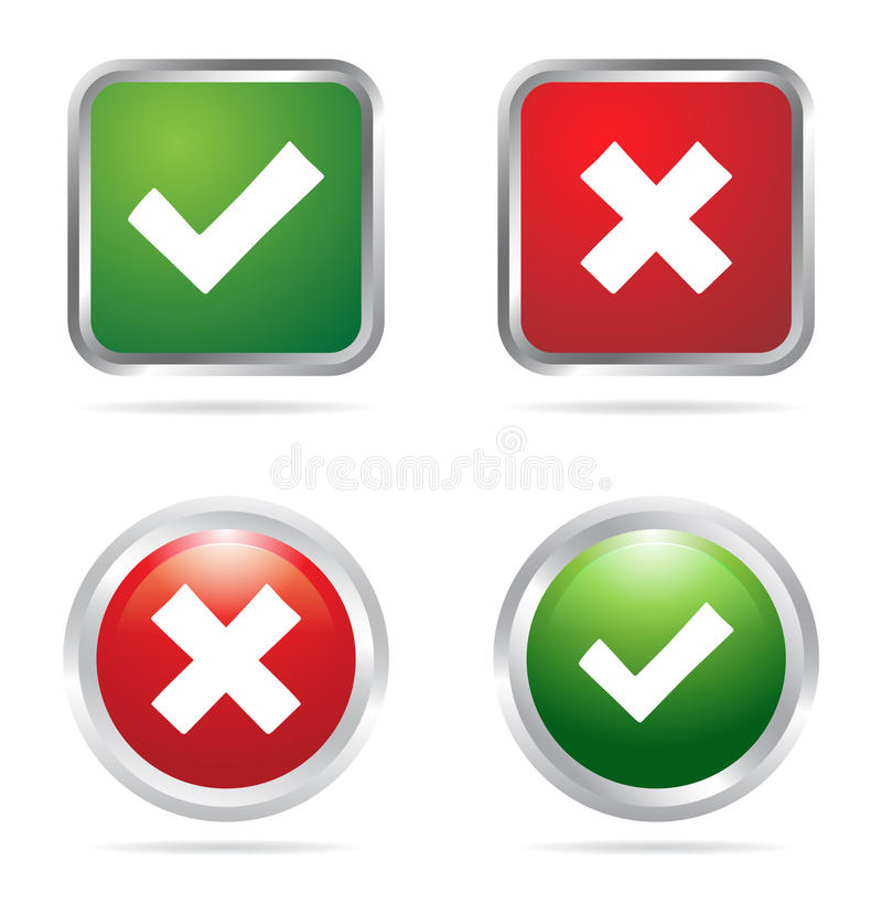 Bottoni dell'incrocio e del segno di spunta illustrazione vettoriale