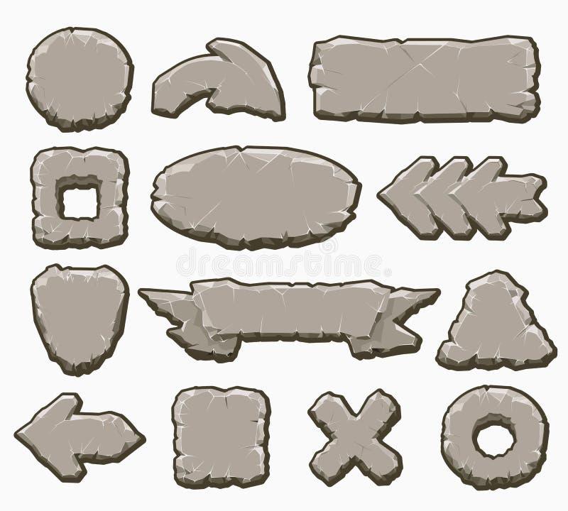 Bottoni dell'interfaccia del fumetto della roccia messi royalty illustrazione gratis