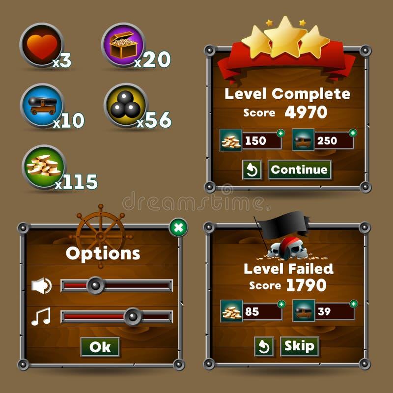 Bottoni dell'interfaccia del gioco, indicatore di stato, icona delle risorse royalty illustrazione gratis