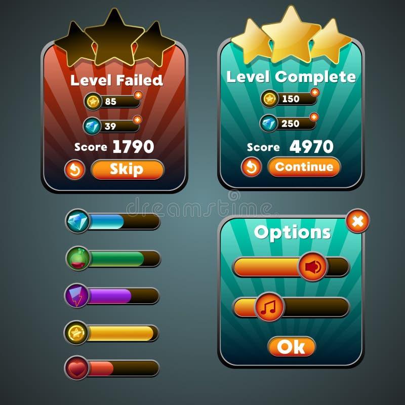 Bottoni dell'interfaccia del gioco, indicatore di stato, icona delle risorse illustrazione di stock
