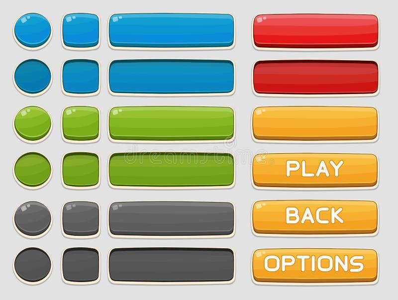 Bottoni dell'interfaccia messi per i giochi o i apps royalty illustrazione gratis