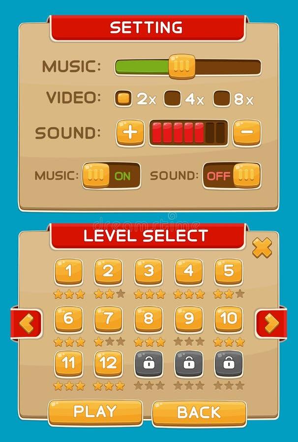 Bottoni dell'interfaccia messi per i giochi o i apps illustrazione vettoriale