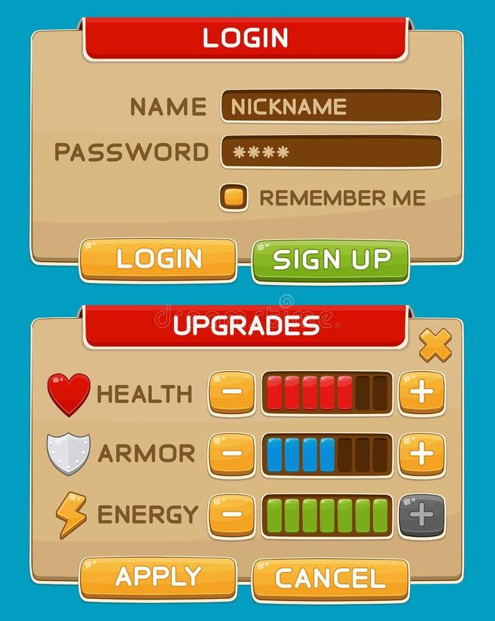 Bottoni dell'interfaccia messi per i giochi o i apps illustrazione di stock