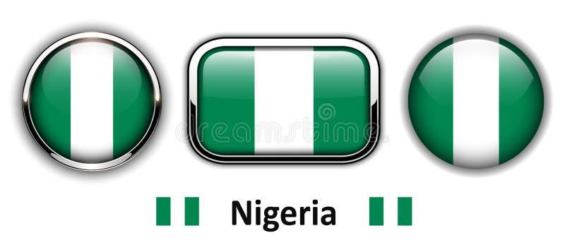 Bottoni della bandiera della Nigeria illustrazione di stock