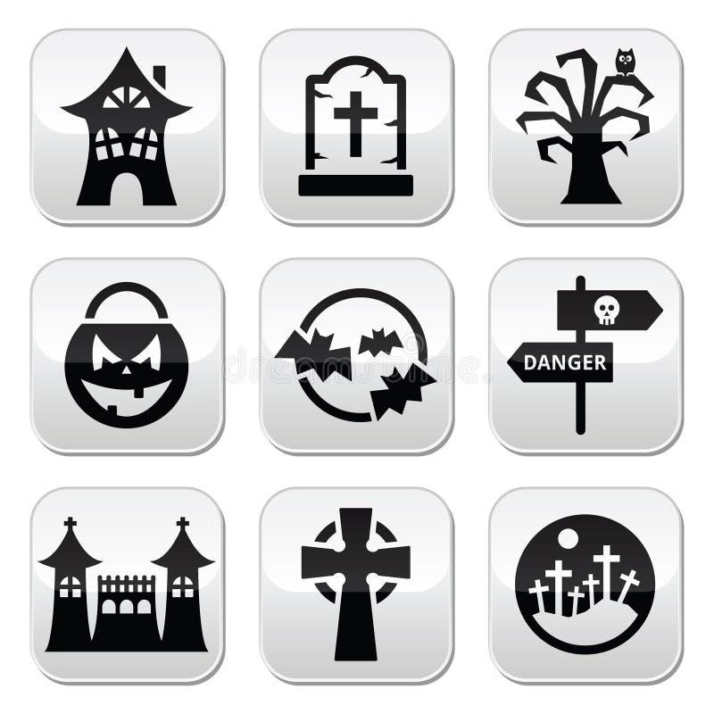 Bottoni di Halloween messi illustrazione vettoriale