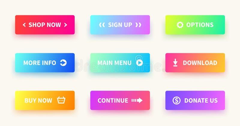 Bottoni di pendenza Bottone di web dell'interfaccia utente, progettazione materiale, forma rettangolare di ui, azione del app pre illustrazione vettoriale
