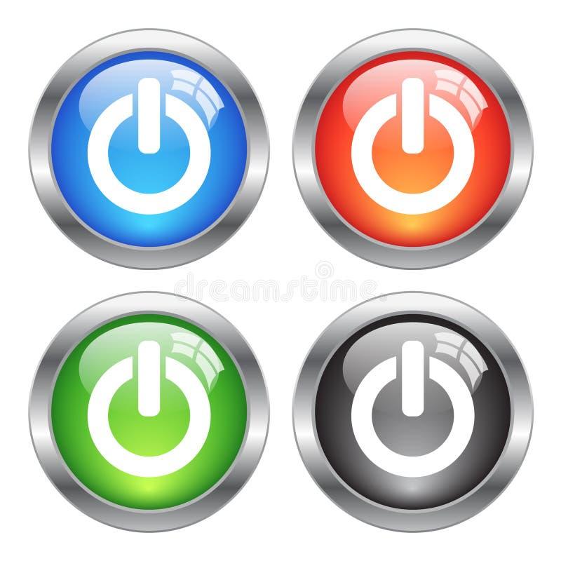 Bottoni di potere di vettore illustrazione di stock