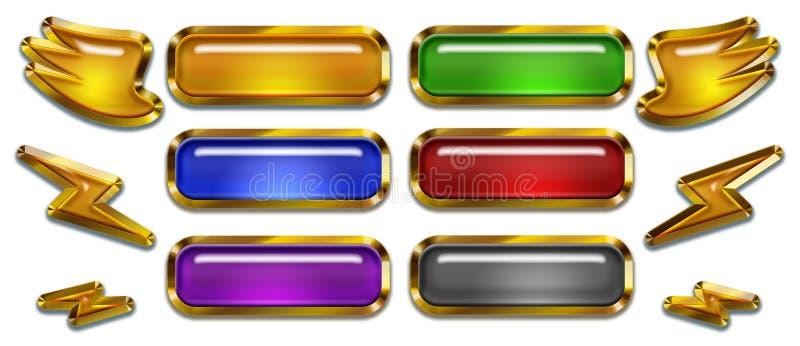 Bottoni di progettazione del gioco e di web ed elementi, modello pronto per l'uso royalty illustrazione gratis