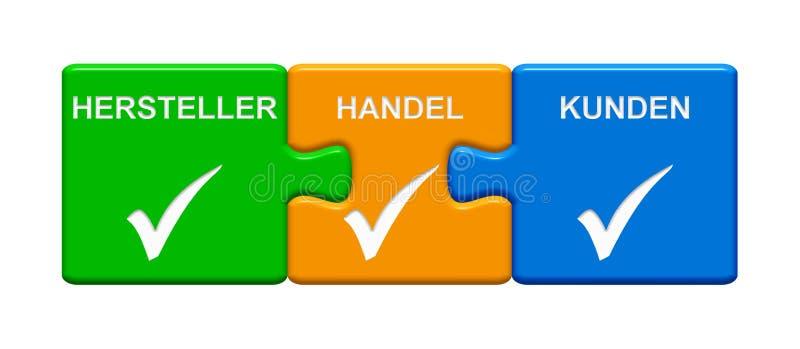 3 bottoni di puzzle che mostrano tedesco di Retail Consumer del produttore illustrazione di stock