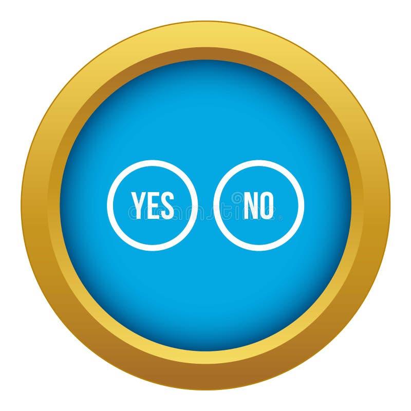 Bottoni di selezione sì e nessun vettore blu dell'icona isolato royalty illustrazione gratis