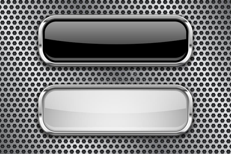 Bottoni di vetro in bianco e nero con la struttura del metallo, su fondo perforato illustrazione di stock
