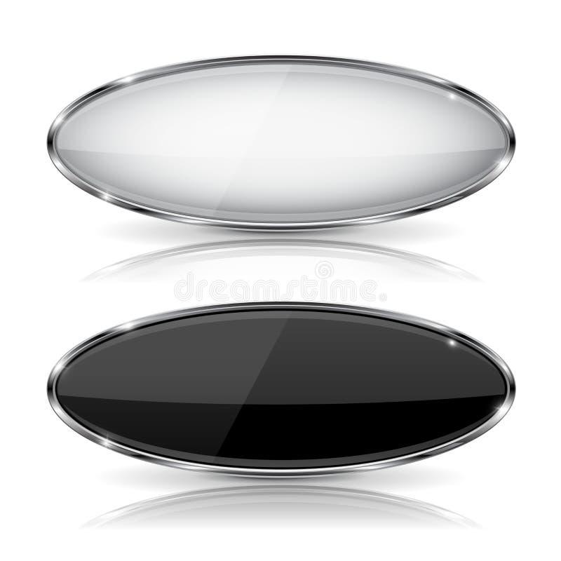 Bottoni di vetro in bianco e nero ovali con la struttura del metallo Con la riflessione royalty illustrazione gratis
