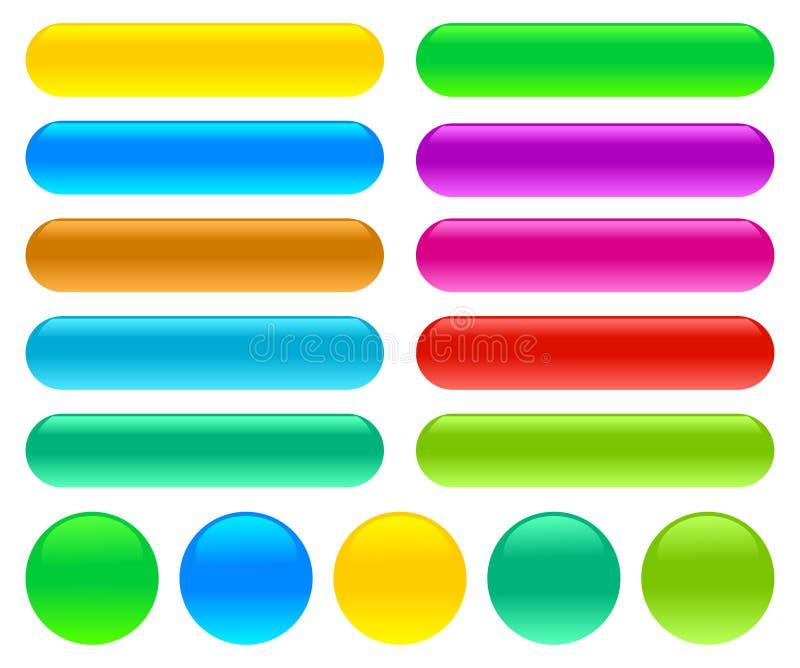 Bottoni di vetro lucidi su un fondo bianco isolato royalty illustrazione gratis
